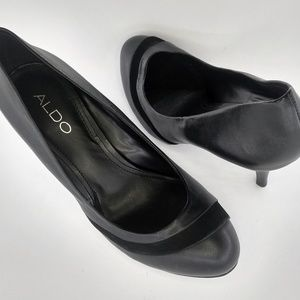 Aldo Tierman leather stiletto pumps suede accent